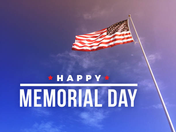 happy memorial day text with american flag - memorial day стоковые фото и изображения