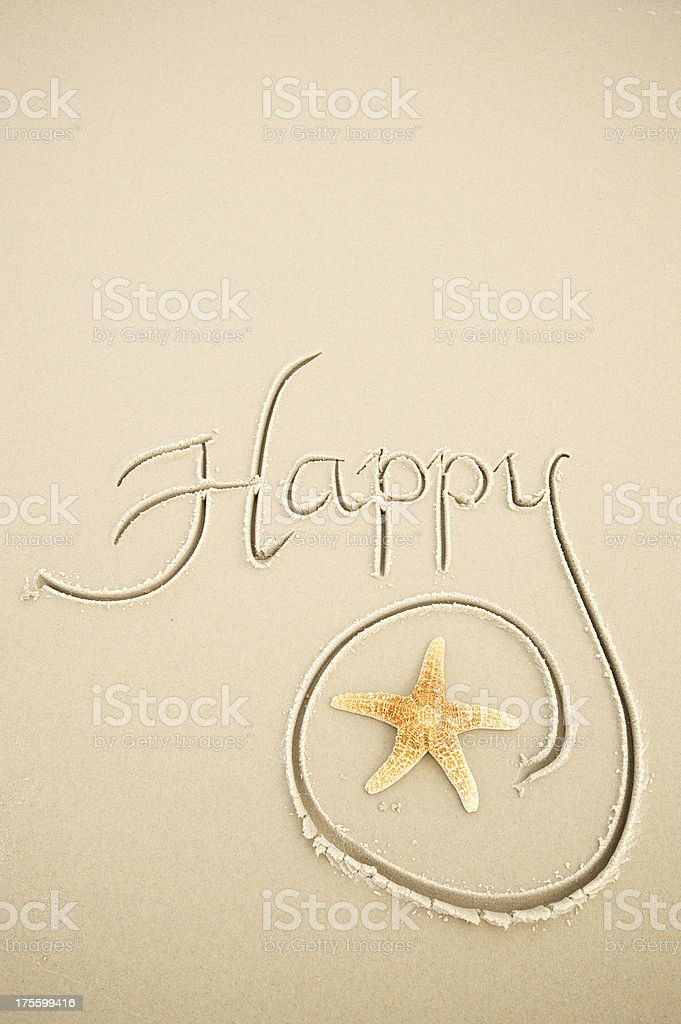 Happy Message in Sand with Starfish royalty-free stock photo