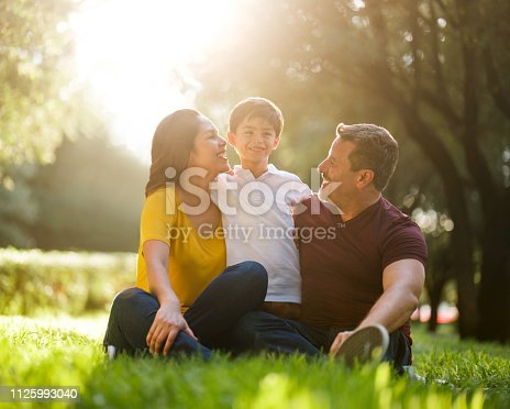 811227514 istock photo Happy mexican parents sitting on grass with son 1125993040