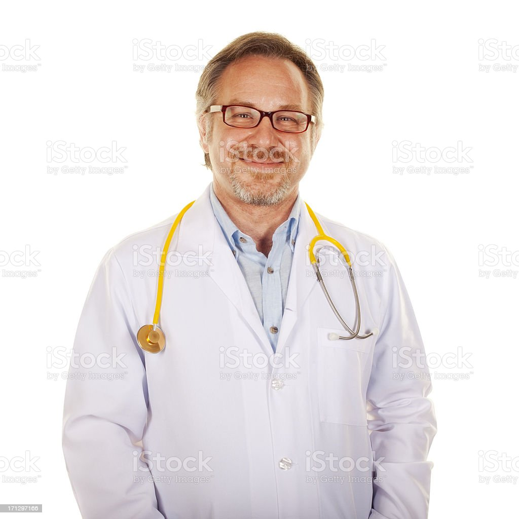 Happy mid adult male doctor smiling royalty-free stock photo