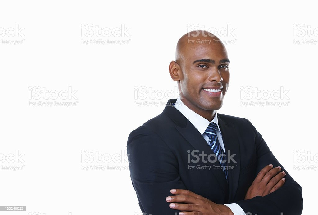 Happy middle aged business man with hands folded against white royalty-free stock photo