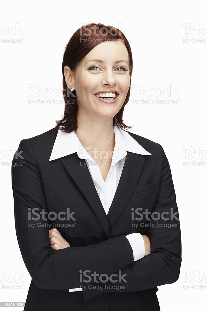 Happy middle aged business woman with hands folded against white royalty-free stock photo