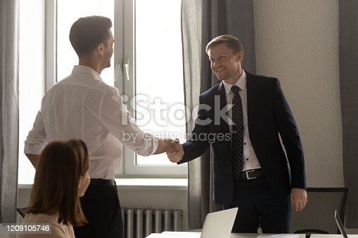 509032417 istock photo Happy middle aged businessman shaking hands with young partner. 1209105746