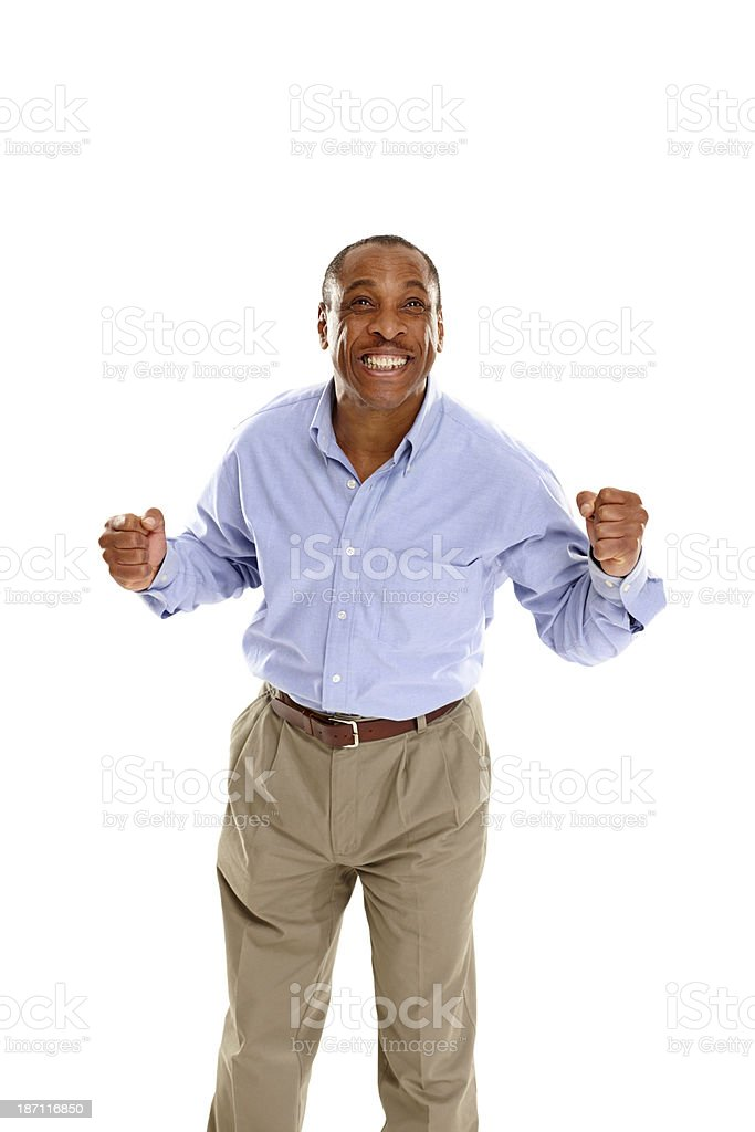 Happy middle aged man cheering royalty-free stock photo