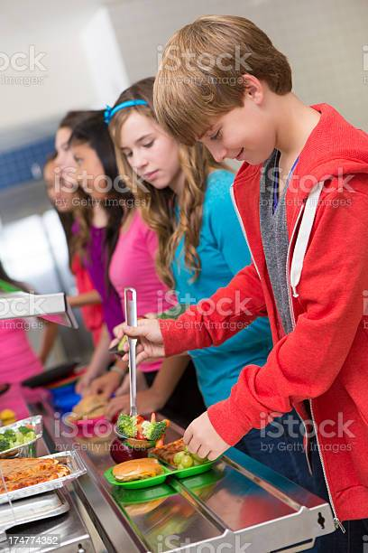Happy middle school students getting their food in cafeteria line picture id174774352?b=1&k=6&m=174774352&s=612x612&h=xznjrnt0fhkxrun2hxbcqqodrgr sbkflub2iaufyug=