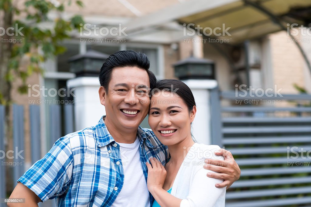Happy middle-aged couple stock photo