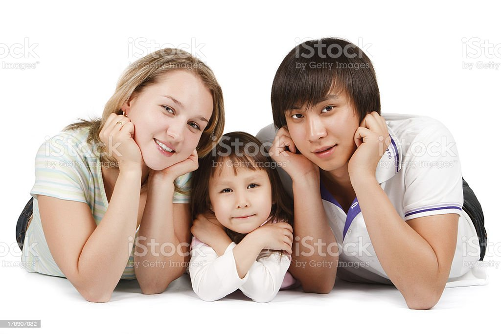 Happy mixed family royalty-free stock photo