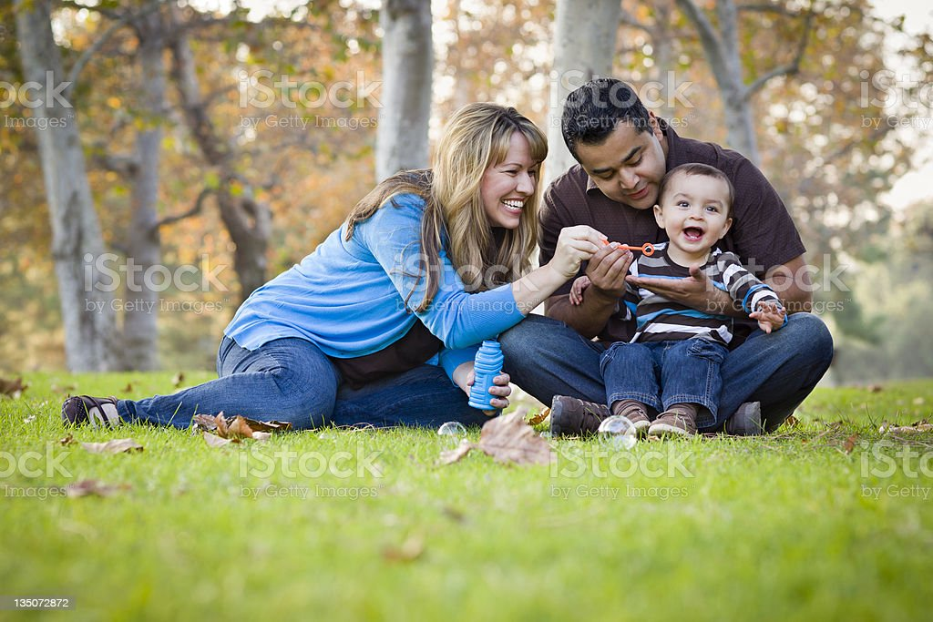 Happy Mixed Race Ethnic Family Playing with Bubbles In Park stock photo