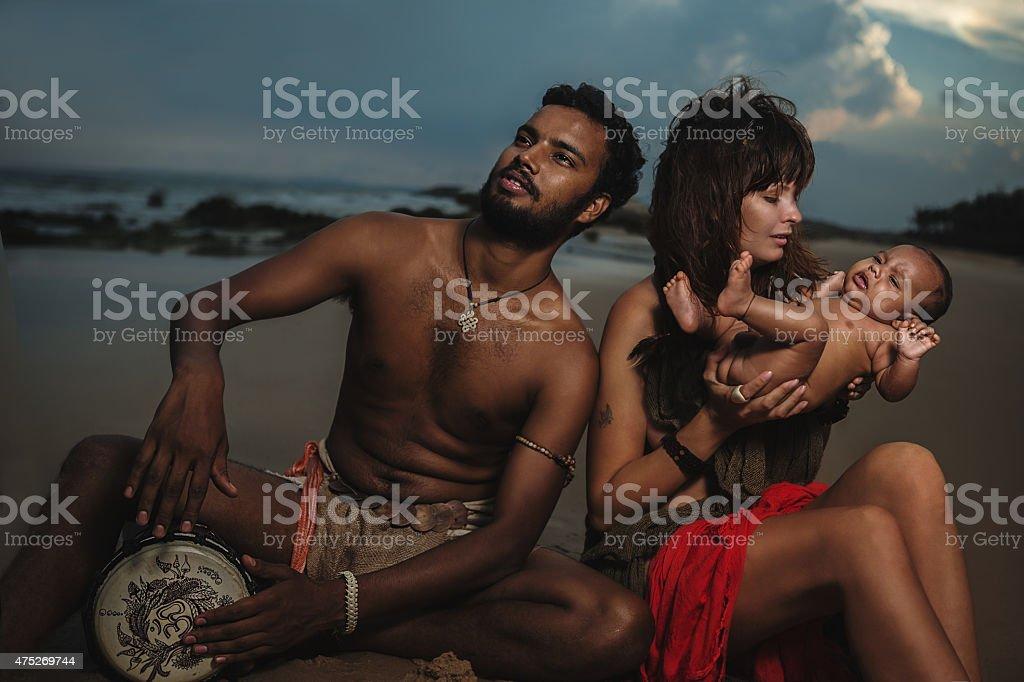 Happy Mixed Race Family stock photo