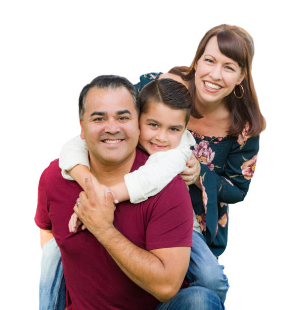 Happy Mixed Race Family Portrait Isolated on a White Background Happy Mixed Race Family Portrait Isolated on a White Background. spanish and portuguese ethnicity stock pictures, royalty-free photos & images