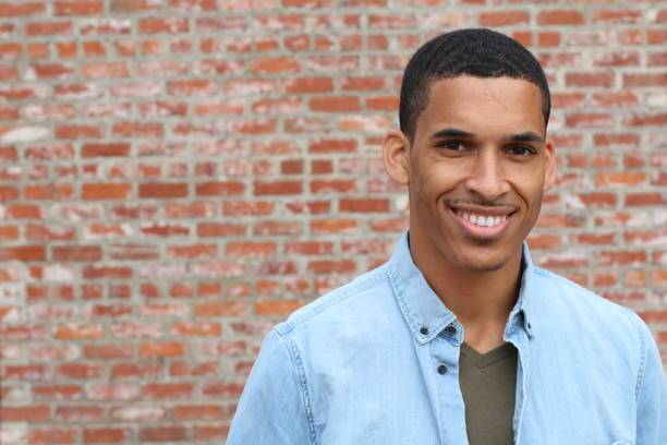 Happy Mixed Race Male Smiling Portrait stock photo