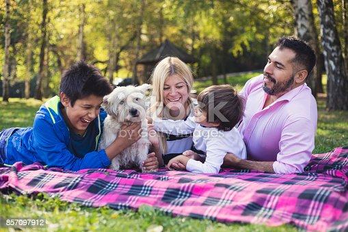 istock Happy mixed-race family 857097912