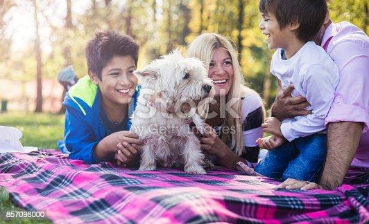 istock Happy mixed-race family 857098000