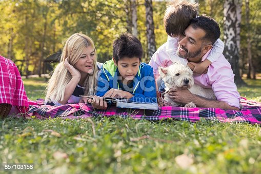 istock Happy mixed-race family 857103158