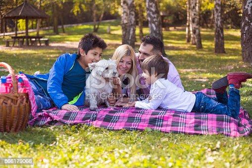 istock Happy mixed-race family 866179066