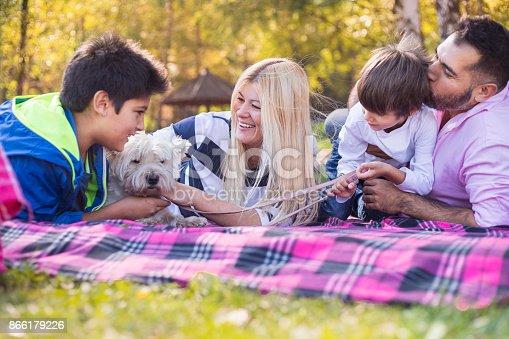 istock Happy mixed-race family 866179226