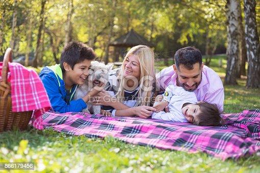 istock Happy mixed-race family 866179456