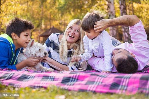 istock Happy mixed-race family 866179466