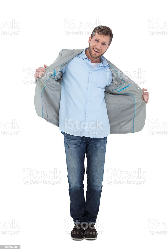 Happy model posing in blazer stock photo