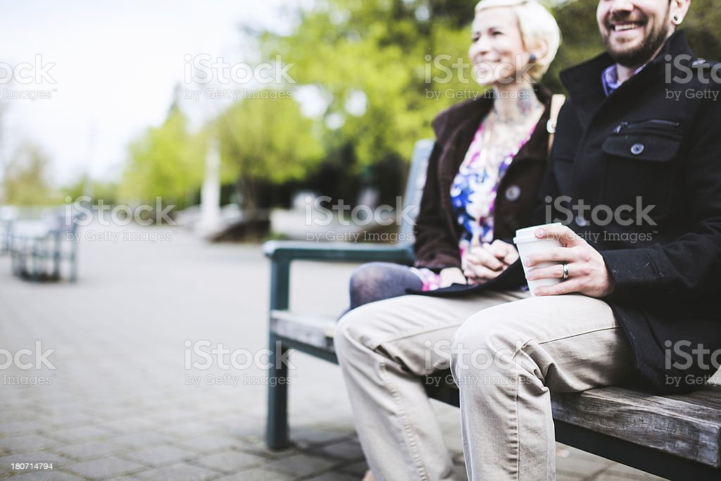 Happy Modern Couple Outdoors royalty-free stock photo