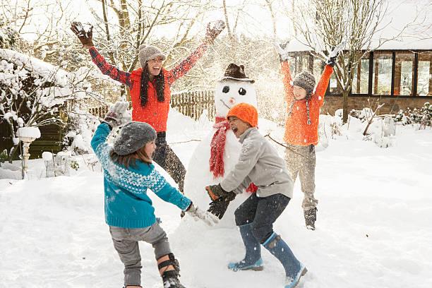 Happy mom and children building snowman in yard picture id162447014?b=1&k=6&m=162447014&s=612x612&w=0&h=ili22ewxfj7bfa80wkjw woqv6df4bugwqxj48emdtu=