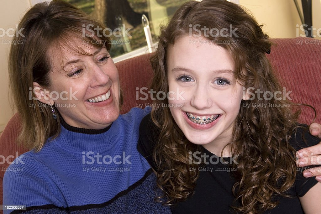 Happy Mom and Teenager Daughter royalty-free stock photo