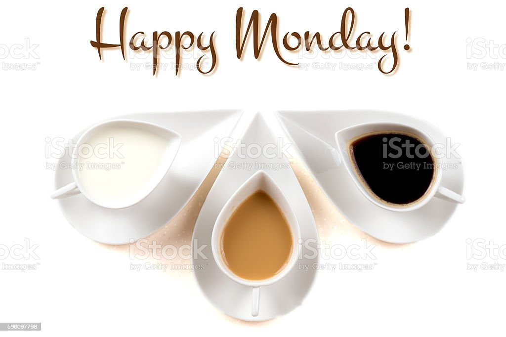 happy monday concept with three coffee cups royalty-free stock photo
