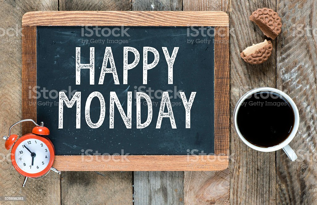 Happy monday sign stock photo