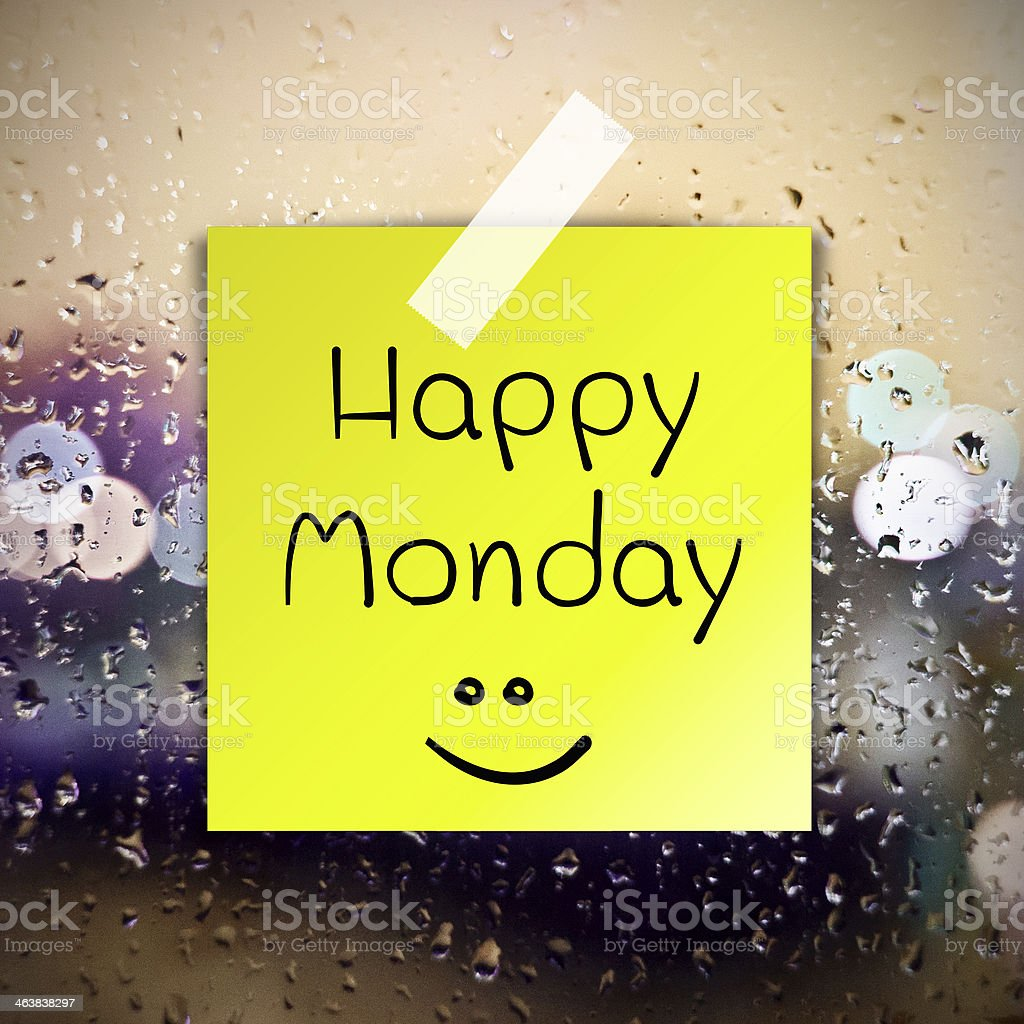 Happy Monday water drops background with copy space stock photo