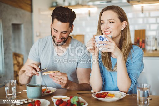 Happy young couple sitting in the modern kitchen in the morning, having fun during breakfast. Eating healthy food  and enjoying in the morning.
