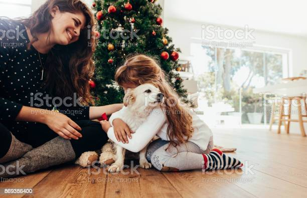 Happy Mother And Daughter Celebrating Christmas With Their Dog Stock Photo - Download Image Now