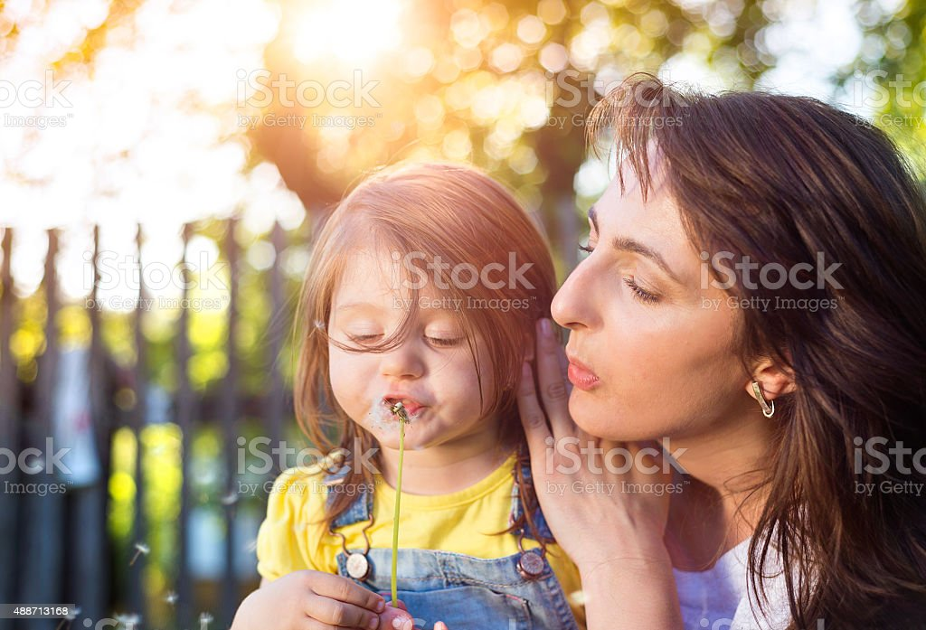 Happy mother and daughter in nature royalty-free stock photo