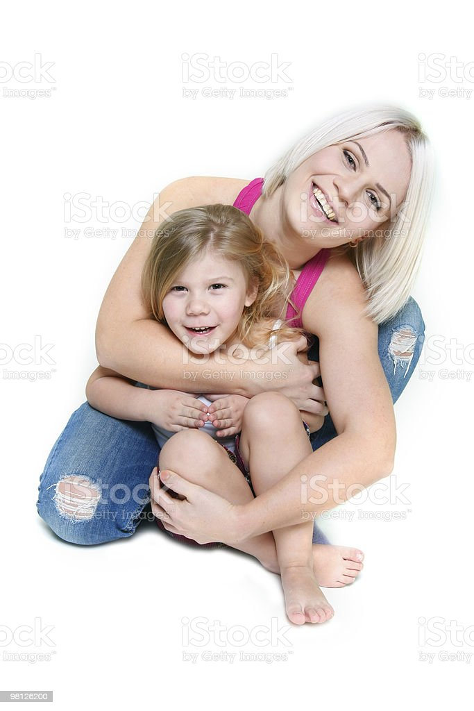 happy mother and daughter over white royalty-free stock photo