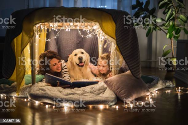 Happy mother and daughter relaxing with a dog in a tent and reading a picture id905857196?b=1&k=6&m=905857196&s=612x612&h=rd0d7ezxslut 2lyizrtamfawczy1lqfbmtmseyjhcc=