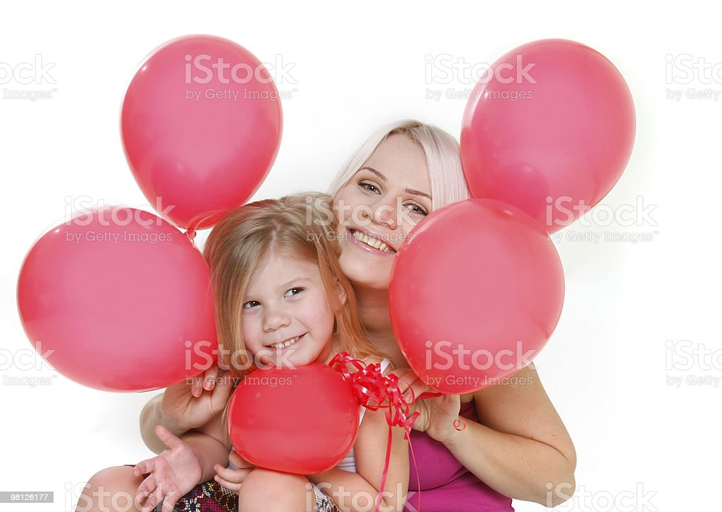 happy mother and daughter with red balloons over white royalty-free stock photo