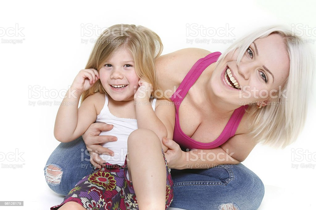 happy mother and dauther over white royalty-free stock photo