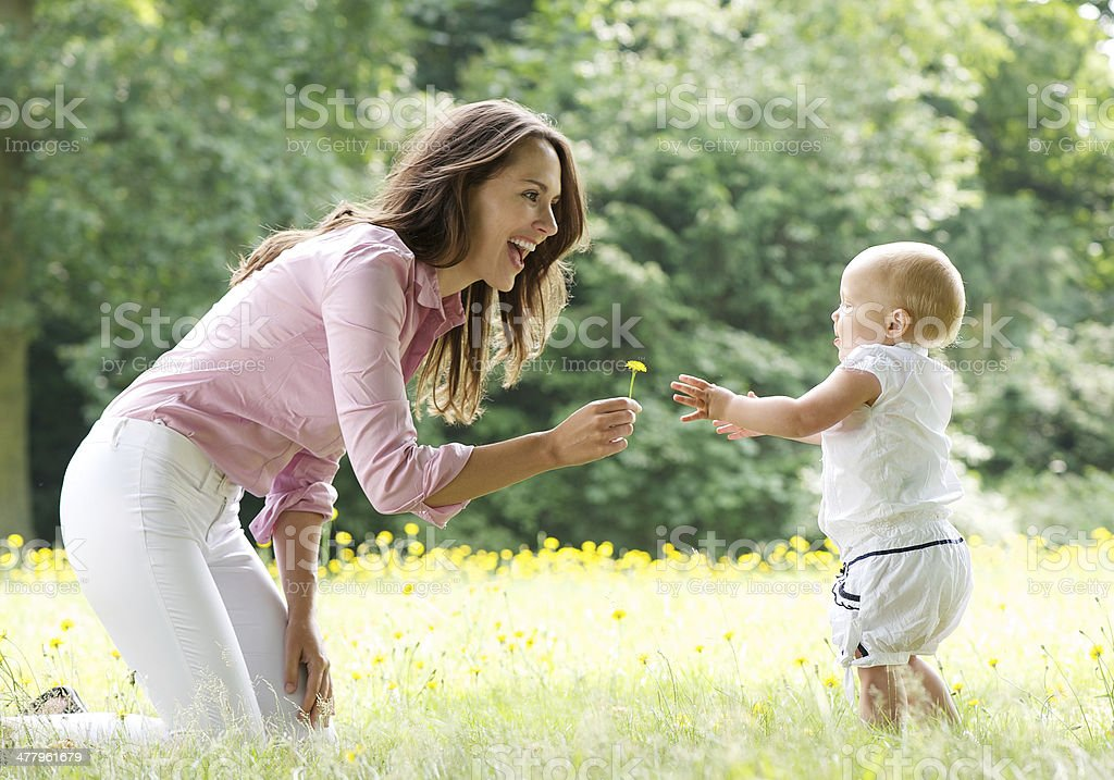 Happy mother teaching baby to walk in the park stock photo