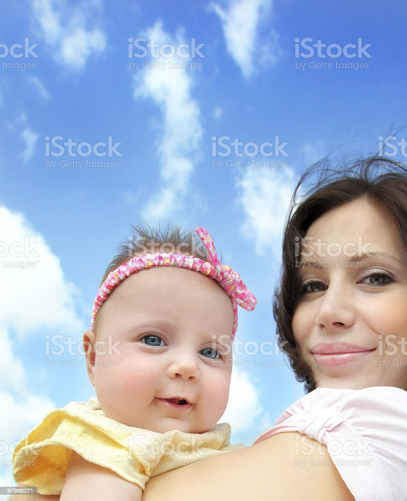 Happy mother with a baby royalty free stockfoto
