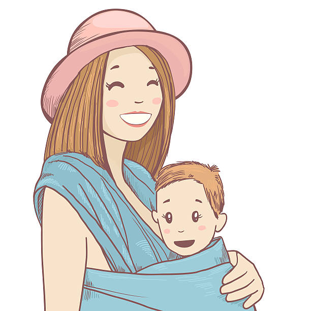Happy mother with baby in sling stock photo