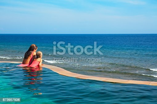 883117662 istock photo Happy mother with child in swimming pool 873957506