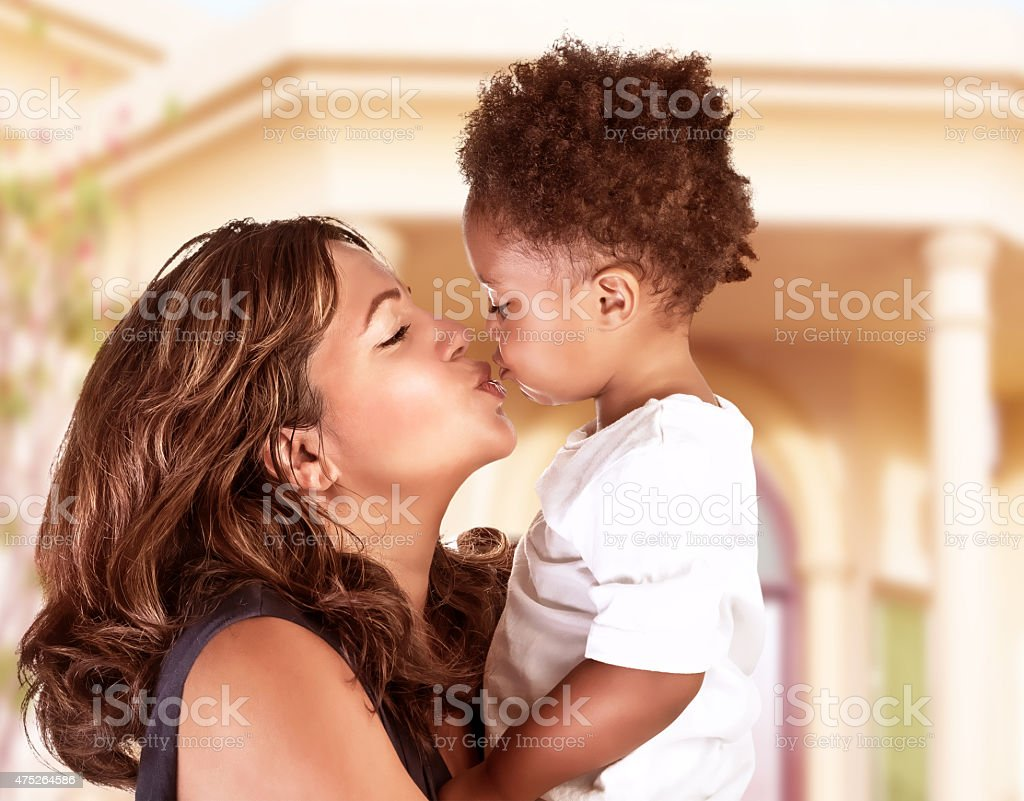 Happy mother with cute son stock photo