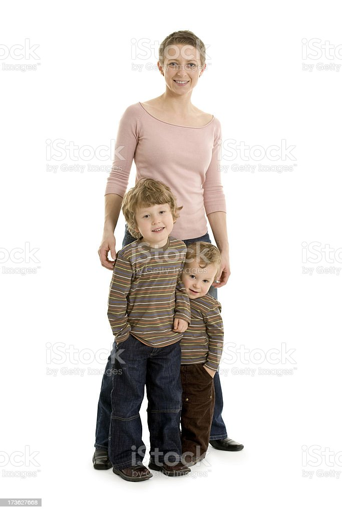 happy mother with two sons royalty-free stock photo