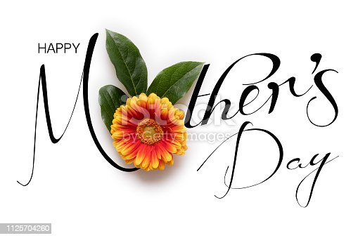 Happy Mother's Day Background. Flat lay greeting card with beautiful gerbera flowers on white background.