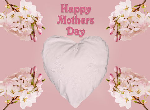 Happy Mothers Day background with cherry blossom and heart