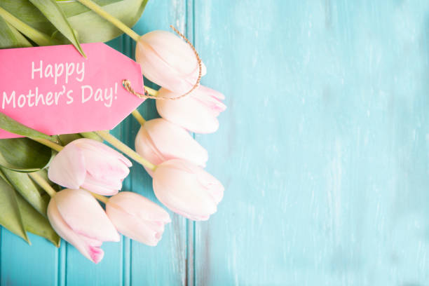 happy mother's day flower bouquet in pink. - mothers day stock pictures, royalty-free photos & images