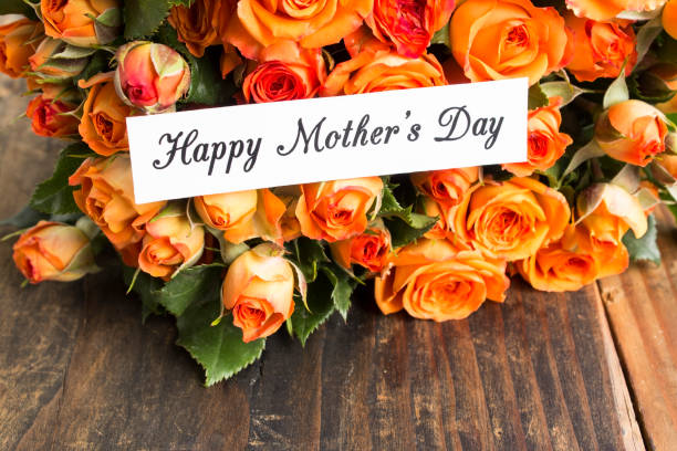 Happy Mother's Day,  Greeting Card,  with Bouquet of Orange Roses stock photo