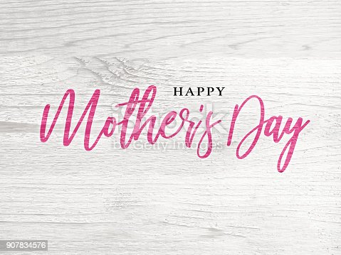 istock Happy Mother's Day Holiday Pink Calligraphy Text 907834576