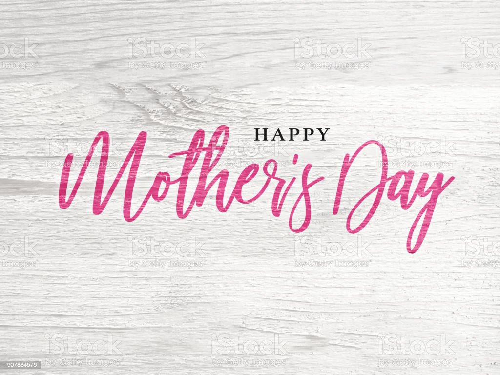 Happy Mother's Day Holiday Pink Calligraphy Text stock photo