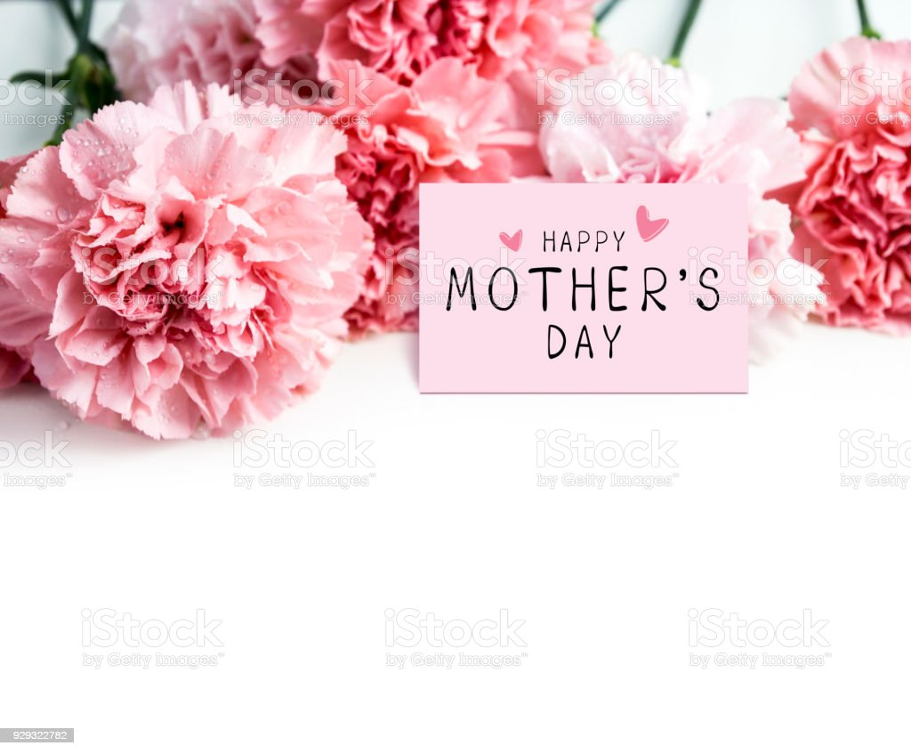 Happy Mothers Day Message On Paper And Pink Carnation Flower On