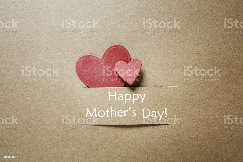 Happy Mothers Day message with hearts stock photo